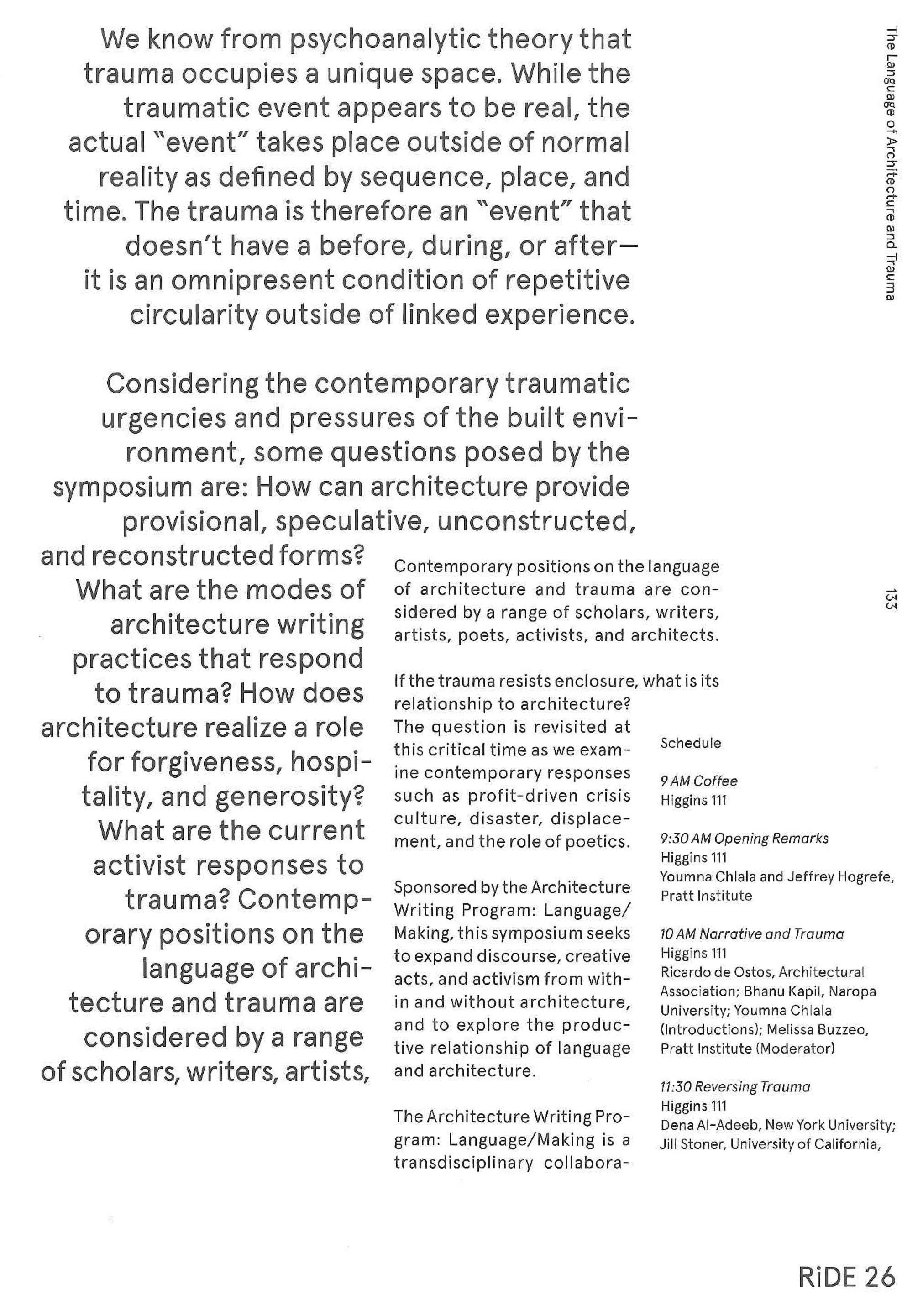 Trauma Doesnt Have To Define New >> Language Of Architecture And Trauma Double Operative Language Making